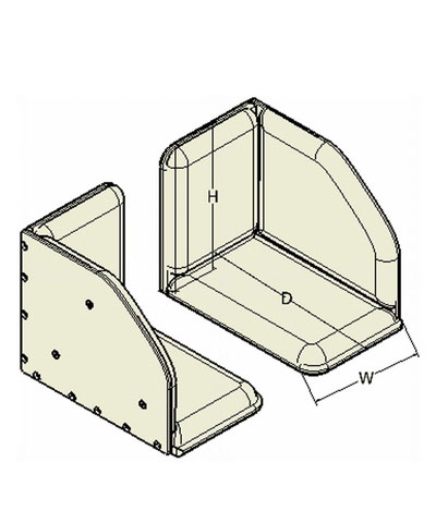 BioForm, Single Leg (2 pieces), Padded Footboxes, Hardware to secure from Seat Pan